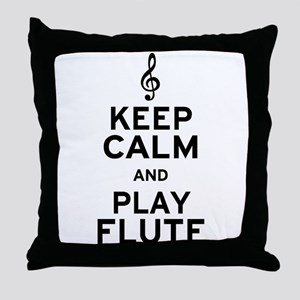 Keep Calm and Play Flute Throw Pillow