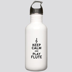 Keep Calm and Play Flute Stainless Water Bottle 1.