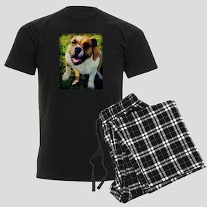 Red English Bulldog Men's Dark Pajamas
