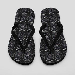 Black Newfie All About Me Flip Flops