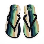 .::MoonDreams::. Love Teal Stripe Flip Flops