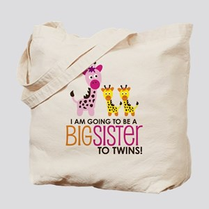 Giraffe Big Sister to Twins Tote Bag