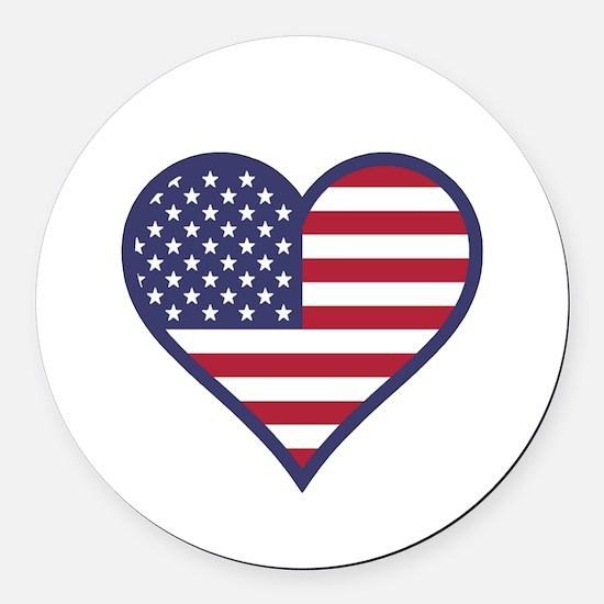 American Flag Heart Round Car Magnet