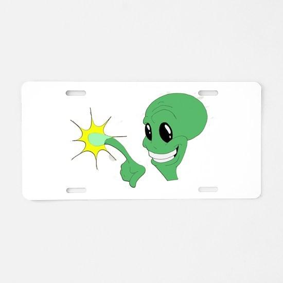 Green Alien.png Aluminum License Plate