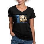 Golden Retriever Women's V-Neck Dark T-Shirt