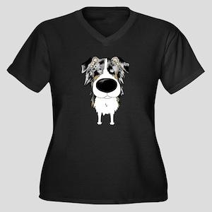 BlueMerleAussieShirtFront Plus Size T-Shirt