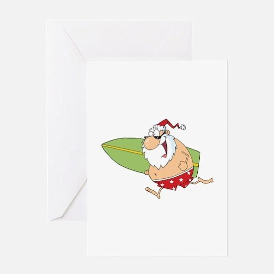 Surfing Santa Greeting Card