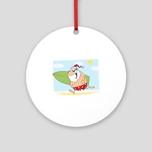 Surfing Santa Ornament (Round)