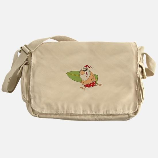 Surfing Santa Messenger Bag