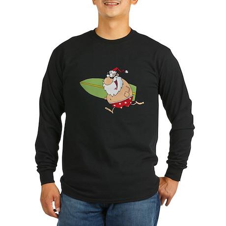 Surfing Santa Long Sleeve Dark T-Shirt