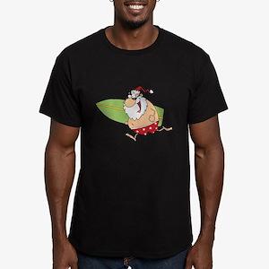 Surfing Santa Men's Fitted T-Shirt (dark)