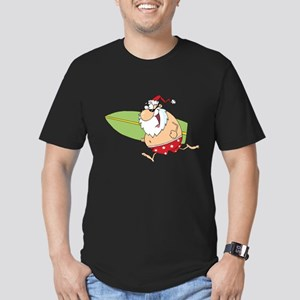 Surfing Santa Men's Fitted T-Shirt (dark)