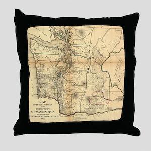 Vintage Map of Washington State (1866 Throw Pillow