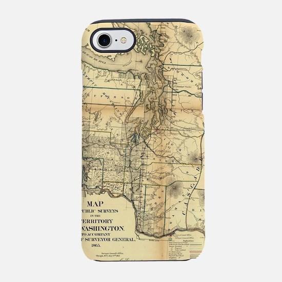 Vintage Map of Washington Stat iPhone 7 Tough Case