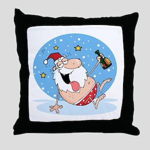 Drunk Santa Throw Pillow