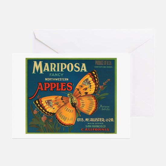Mariposa Butterfly Fruit Crat Greeting Cards (Pack