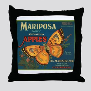 Mariposa Butterfly Fruit Crat Throw Pillow