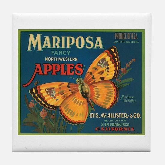 Mariposa Butterfly Fruit Crat Tile Coaster