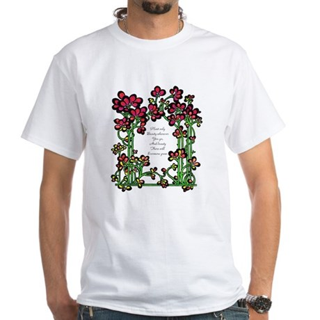 """Plant Only Beauty..."" White T-Shirt"