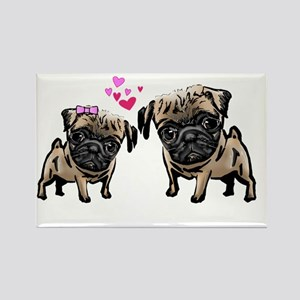 Valentine Pugs Rectangle Magnet