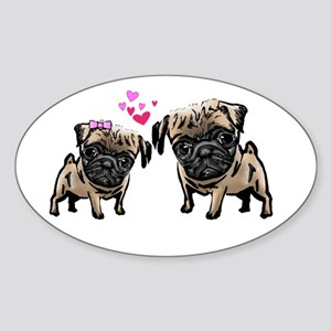 Valentine Pugs Oval Sticker