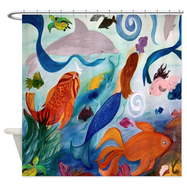 Tropical fish and mermaid party shower curtain by bythebeach for Tropical fish shower curtain