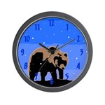 Winter Grizzly Bear Wall Clock
