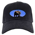 Winter Grizzly Bear Black Cap with Patch