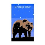 Winter Grizzly Bear Sticker (Rectangle)