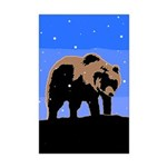 Winter Grizzly Bear Mini Poster Print