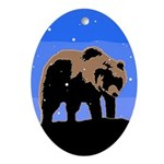 Winter Grizzly Bear Oval Ornament