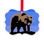 Winter Grizzly Bear Picture Ornament