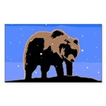 Winter Grizzly Bear Sticker (Rectangle 10 pk)