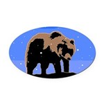 Winter Grizzly Bear Oval Car Magnet