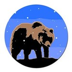 Winter Grizzly Bear Round Car Magnet