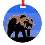 Winter Grizzly Bear Round Ornament