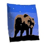 Winter Grizzly Bear Burlap Throw Pillow