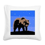 Winter Grizzly Bear Square Canvas Pillow