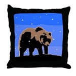 Winter Grizzly Bear Throw Pillow
