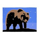 Winter Grizzly Bear 5'x7'Area Rug