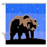Winter Grizzly Bear Shower Curtain