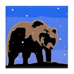 Winter Grizzly Bear Tile Coaster