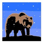 Winter Grizzly Bear Square Car Magnet 3