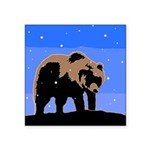 Winter Grizzly Bear Square Sticker 3