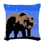 Winter Grizzly Bear Woven Throw Pillow
