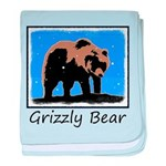 Winter Grizzly Bear baby blanket