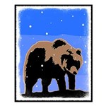 Winter Grizzly Bear Small Poster
