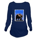Winter Grizzly Bear Long Sleeve Maternity T-Shirt