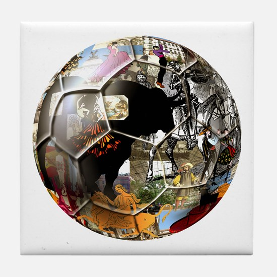 Culture of Spain Soccer Ball Tile Coaster