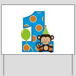 Monkey First Birthday Boy Yard Sign